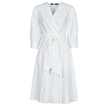 Textil Ženy Krátké šaty Karl Lagerfeld LOGO EMROIDERED SHIRT DRESS Bílá
