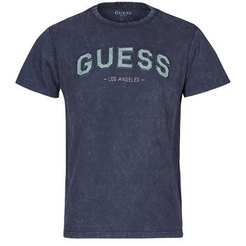 Textil Muži Trička s krátkým rukávem Guess GUESS COLLEGE CN SS TEE Tmavě modrá
