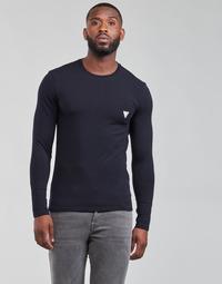 Textil Muži Trička s dlouhými rukávy Guess CN LS CORE TEE Tmavě modrá
