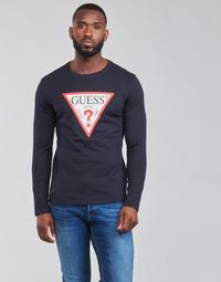 Textil Muži Trička s dlouhými rukávy Guess CN LS ORIGINAL LOGO TEE Tmavě modrá