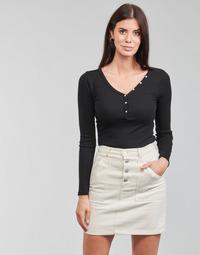 Textil Ženy Trička s dlouhými rukávy Guess ES LS V NECK LOGO HENLEY TEE Černá