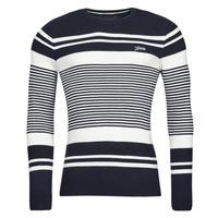 Textil Muži Svetry Guess LONDON EMBOSSED STRIPED CN Tmavě modrá / Bílá