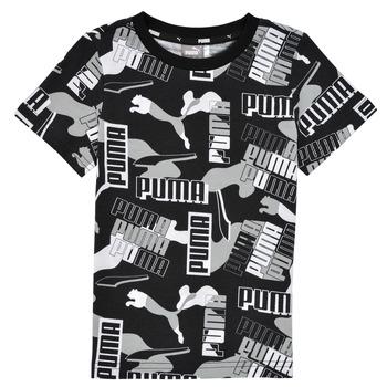 Textil Chlapecké Trička s krátkým rukávem Puma ALPHA AOP TEE Černá