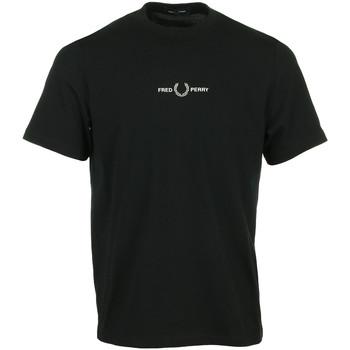 Textil Muži Trička s krátkým rukávem Fred Perry Embroidered T-Shirt Černá