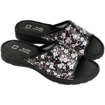 Boty Ženy Papuče John-C Dámske kožené čierne šľapky ADRIANA čierna