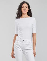Textil Ženy Trička s dlouhými rukávy Lauren Ralph Lauren JUDY-ELBOW SLEEVE-KNIT Bílá