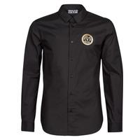 Textil Muži Košile s dlouhymi rukávy Versace Jeans Couture SLIM PRINT V EMBLEM GOLD Černá / Zlatá