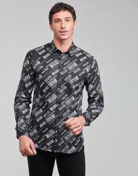 Textil Muži Košile s dlouhymi rukávy Versace Jeans Couture SLIM PRINT WARRANTY Černá / Bílá
