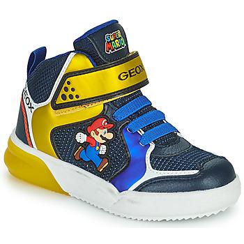 Boty Chlapecké Kotníkové tenisky Geox GRAYJAY Modrá / Žlutá