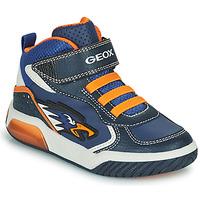 Boty Chlapecké Kotníkové tenisky Geox INEK Tmavě modrá / Oranžová
