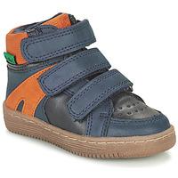 Boty Chlapecké Kotníkové boty Kickers LOGGAN Tmavě modrá / Oranžová