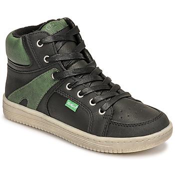 Boty Chlapecké Kotníkové tenisky Kickers LOWELL Černá / Zelená