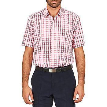 Textil Muži Košile s krátkými rukávy Pierre Cardin CH MC CARREAU GRAPHIQUE Bílá / Červená