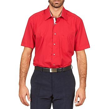 Textil Muži Košile s krátkými rukávy Pierre Cardin CH MC POPELINE UNIE - OPPO RAYURE INTERIEUR COL & POIGNET Růžová / Červená