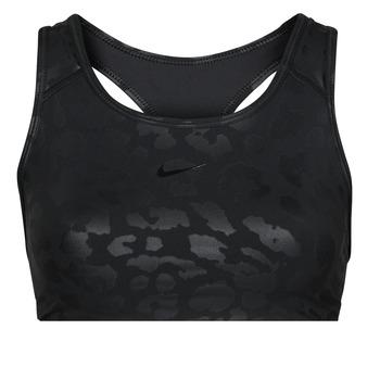 Nike Sportovní podprsenky W NP DF SWSH LEPARD SHINE BRA - Černá