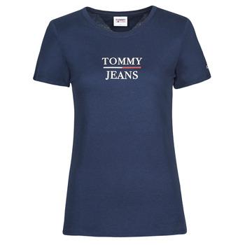 Textil Ženy Trička s krátkým rukávem Tommy Jeans TJW SKINNY ESSENTIAL TOMMY T SS Tmavě modrá
