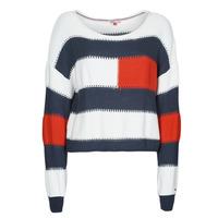 Textil Ženy Svetry Tommy Jeans TJW  RWB STRIPE SWEATER Modrá / Bílá / Červená
