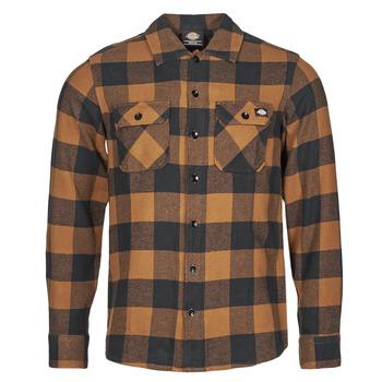Textil Muži Košile s dlouhymi rukávy Dickies NEW SACRAMENTO SHIRT Velbloudí hnědá / Černá