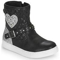 Boty Dívčí Kotníkové boty Primigi B&G LUX Černá / Stříbrná
