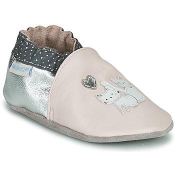 Boty Dívčí Bačkůrky pro miminka Robeez  Růžová / Stříbrná