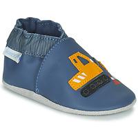 Boty Chlapecké Bačkůrky pro miminka Robeez YARD ROAD Modrá / Žlutá