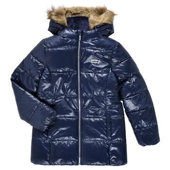 Textil Dívčí Prošívané bundy Levi's FUR PUFFER Tmavě modrá