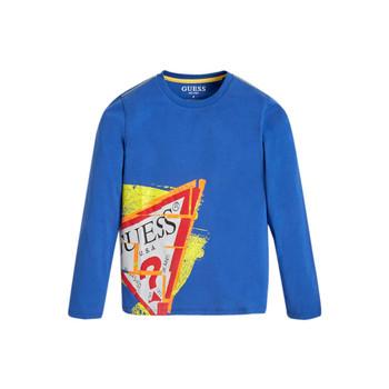 Textil Chlapecké Trička s dlouhými rukávy Guess LISTIN Modrá