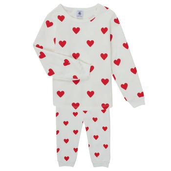 Textil Dívčí Pyžamo / Noční košile Petit Bateau CASSANDRE Bílá / Červená