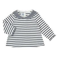 Textil Dívčí Trička s dlouhými rukávy Petit Bateau HOLINU Bílá / Modrá