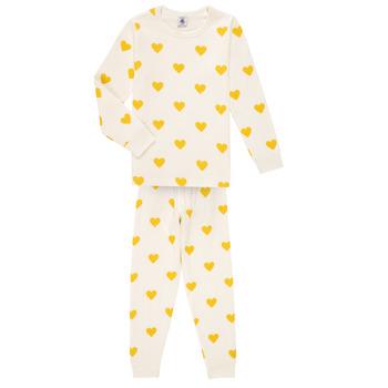 Textil Dívčí Pyžamo / Noční košile Petit Bateau LERINU Bílá / Žlutá