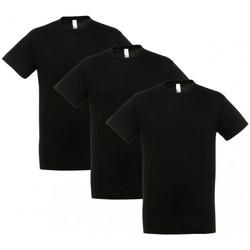 Textil Trička s krátkým rukávem Sols PACK 3 CAMISETAS NEGRAS COTTON Negro