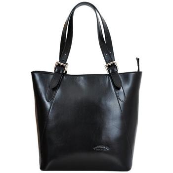 Taška Ženy Tašky přes rameno L'Artigiano Della Pelle Velká černá kožená dámská kabelka přes rameno L Artigiano černá