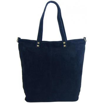 Taška Ženy Tašky přes rameno Borse In Pelle Kožená velká tmavě modrá broušená praktická dámská kabelka modrá