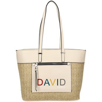 Taška Ženy Velké kabelky / Nákupní tašky David Jones Krémová velká dámská kabelka přes rameno CM5741 béžová