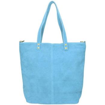 Taška Ženy Tašky přes rameno Borse In Pelle Kožená velká světle modrá broušená praktická dámská kabelka modrá