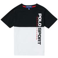 Textil Chlapecké Trička s krátkým rukávem Polo Ralph Lauren KAMILA Bílá / Černá