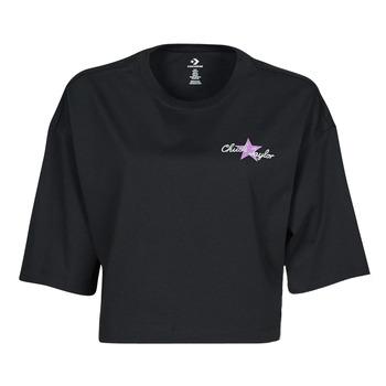 Textil Ženy Trička s krátkým rukávem Converse CHUCK INSPIRED HYBRID FLOWER OVERSIZED CROPPED TEE Černá