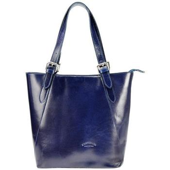 Taška Ženy Velké kabelky / Nákupní tašky L'Artigiano Della Pelle Velká tmavě modrá kožená dámská kabelka přes rameno L Artigiano modrá