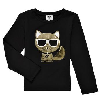 Textil Dívčí Trička s dlouhými rukávy Karl Lagerfeld AMETHYSTE Černá