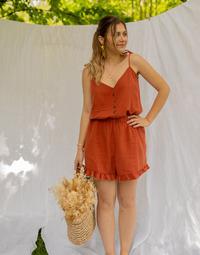 Textil Ženy Overaly / Kalhoty s laclem Céleste NEROLI Terakotová