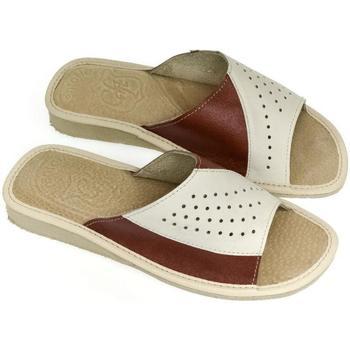 Boty Ženy Dřeváky John-C Dámske kožené  béžové papuče MINDA béžová