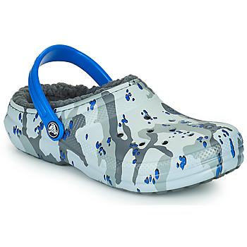 Boty Chlapecké Pantofle Crocs CLASSIC LINED CAMO CG K Šedá / Modrá
