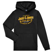 Textil Chlapecké Mikiny Jack & Jones JJELOGO SWEAT HOOD Černá