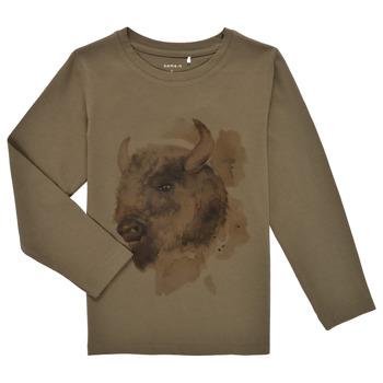Textil Chlapecké Trička s dlouhými rukávy Name it NMMKEVIN LS TOP Khaki