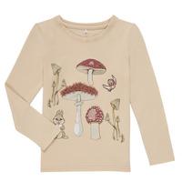 Textil Dívčí Trička s dlouhými rukávy Name it NMFTHUMPER ALFRIDA LS TOP Béžová