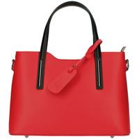 Taška Ženy Kabelky  Borse In Pelle Kožená červená dámská kabelka s černými ramínky do ruky Maila červená