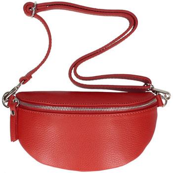 Taška Ženy Ledvinky Vera Pelle Kožená dámská ledvinka s upravitelným popruhem Jean červená červená