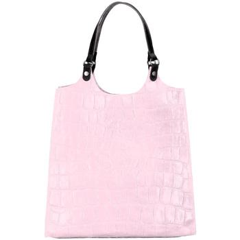 Taška Ženy Kabelky  Borse In Pelle Kožená velká dámská kabelka Ginevra lila růžová růžová