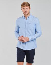Textil Muži Košile s dlouhymi rukávy Tommy Jeans TJM LINEN BLEND SHIRT Modrá