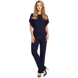 Textil Ženy Overaly / Kalhoty s laclem Moe M319 Kombinéza s širokými nohavicemi - tmavě modrá